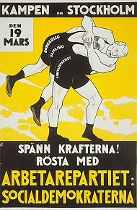 (Picture: Election poster for the the Swedish Social Democratic Party. Published by the Royal Library. Creator: Starkenberg, Ivar (1886-1947).)