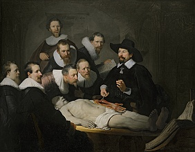 The Anatomy Lesson of Dr Nicolaes Tulp by Rembrandt van Rijn, painting and picture property of Mauritshuis, The Hague