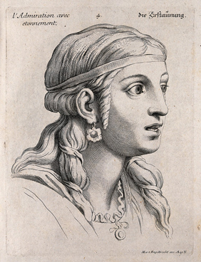 A female face expressing admiration tinged with astonishment. Engraving by M. Engelbrecht, 1732, after C. Le Brun. Credit: Wellcome Collection.